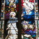 Saint Joseph Catholic Church (Somerset, Ohio) - stained glass, Our Lady & Christ present the Rosary to St. Dominic (CC, user Nheyob)